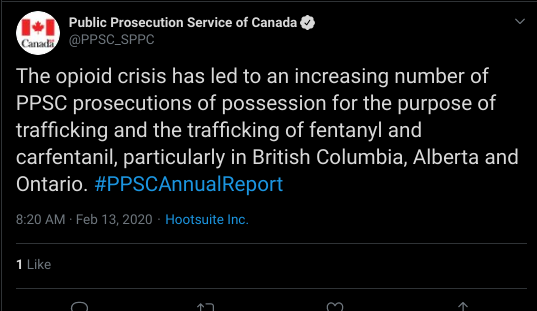 The opioid crisis has led to an increasing number of PPSC prosecutions of possession for the purpose of trafficking and the trafficking of fentanyl and carfentanil, particularly in British Columbia, Alberta and Ontario. #PPSCAnnualReport